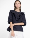 Ruffled Blouse With Embroidered Detail