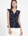Printed Top With Belt-Resemble Detail