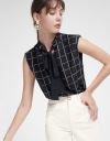 Checked Blouse With Tied Neck