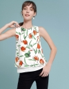 Floral Printed Blouse With Tied Back