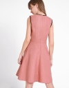A-Line Tweed Dress With Contrast Panels