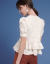 Jacquard Top With Ruffled Layered Hem