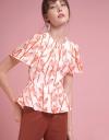 Sleeved Printed Top With Gathered Detail