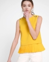 Sleeveless Top With Layered Pleated Hem