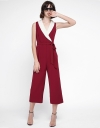 Wide-Leg Jumpsuit With Contrast Neckline