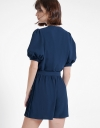 Puff Sleeved Romper With Pleated Hem