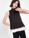 Printed Layered Top With Tied Neckline