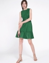 Sleeveless Dress With Layered Gathered Hem