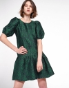 Jacquard Shift Dress With Puff Sleeves