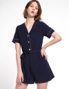 Sleeved Romper With Contrast Braids