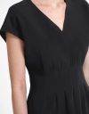 Capped Sleeved Dress With Pleated Detail