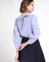 Sleeved Striped Blouse With Tied Back