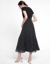 Sleeved Midi Dress With Dotted Skirt