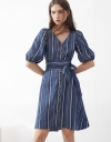 Sleeved Striped Midi Dress With Button Front