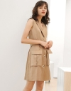 Shirt Belted Dress With Pockets Front