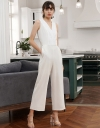 Mesh-Trimmed V-Neck Jumpsuit