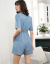 Sleeved Printed Romper With Button Front