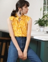 Printed Top With Ruffled Neckline