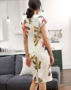 Capped Sleeved Fitted Floral Dress