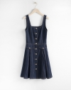 Strappy Ribbed A-Line Dress With Button Front