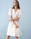 Sleeved Embroidered Midi Dress With Smock Waist