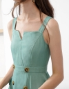 Strappy Midi Dress With Sweet-Heart Neck
