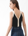 Color Block Strappy Knit Top