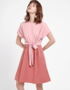 Color Blocked Dress With Tied Front