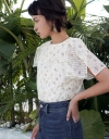 Sleeved Printed Top With Tied Detail