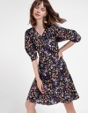 Sleeved Abstract Printed Dress