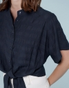 Drop Shouldered Shirt With Tied Waist