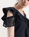Asymmetric Ruffled Top With Contrast Lace